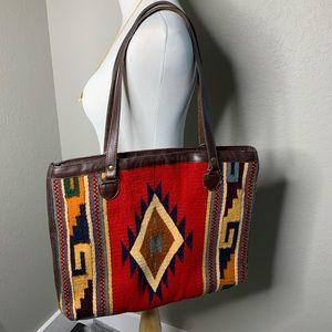 Vintage Southwest Aztec Carpet Bag Red Leather